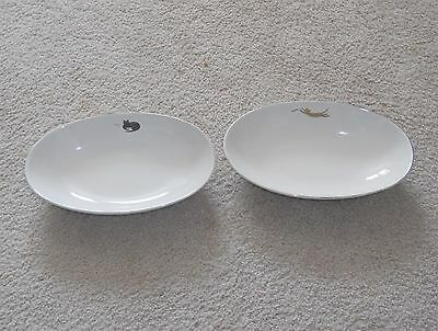 Vintage Mister Donut Oval Bowls with Cats and Fish x 2 Awesome!