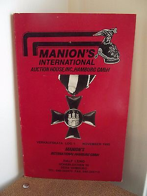 MANION'S INTERNATIONAL~ MilitaryAuction Catalog~VERKAUFSKATA LOG 1~November 1995