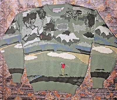 Vintage Campus Men's Embroidered Golf Sweater Greens Acrylic Preppy Size Large