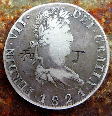 1821 8 Reales Zacatecas War Of Independence Rare Counterstamp Chopmark Important