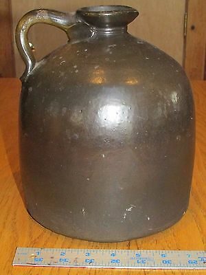 Beautiful Antique Stoneware Brown Beehive Whiskey Jug - Formed Pouring Spout