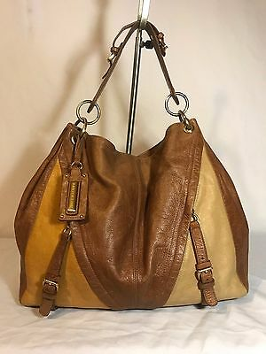 Isabella Fiore Hobo 4 tone Leather Large Satchel Tote Purse Shoulder Bag Boho