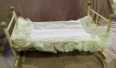 """Antique 1890's 20"""" Stick and Ball Wooden Doll Bed w/Linens, Doll Toy"""