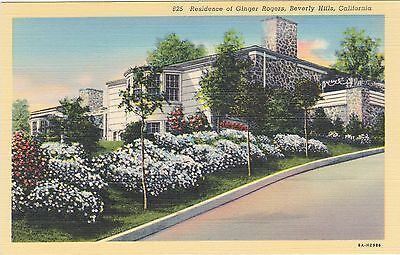 Ginger Rogers, Beverly Hills, Calif. Residence. Circa 1940 Postcard