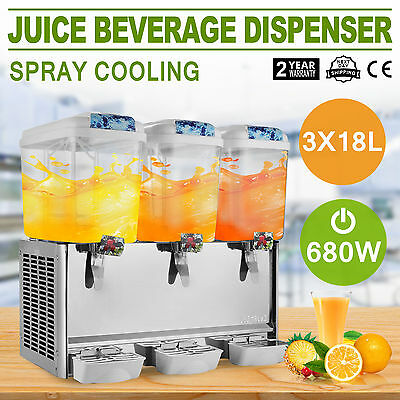 54L Juice Beverage Dispenser Bubbler 3 Tanks Stainless Steel Ice Tea Cold Drink