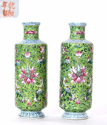2 Old Chinese Famille Rose  Apple Green Ground Porcelain Vase Flower Marked