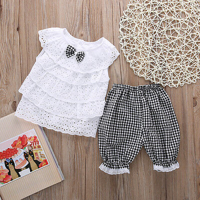 2PCS Toddler Kids Baby Girl Outfits Clothes T-shirt Tops Dress + Short Pants UK