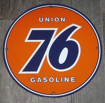 UNION 76 GASOLINE porcelain SIGN - vintage gas pump plate - minute man service