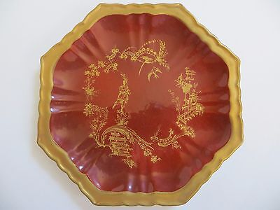 "Mottahedeh Red "" Chinois "" Pattern Octagonal Plate~7+3/4"" Dia~VGCondition~Italy"