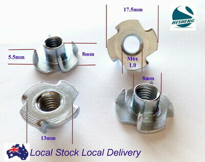 Qty 20 M6 6mm Zinc Plated Steel 4 Prong T  Nut Tee Blind Timber Wood Insert Nuts