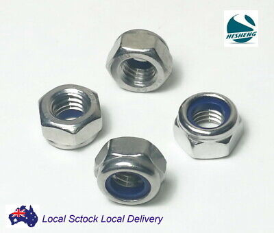 Qty 100 M6 Stainless Steel 304 A2 Hex Nyloc Nut 6mm Nylon Insert Lock Nuts