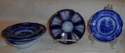 Lot of 5 Ca. 1840s Flow Blue & Gaudy Ironstone Bowls Tonquin Chapoo Wagon Wheel