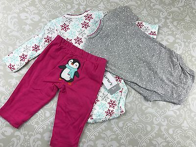 5994e6b3a NWT Baby Girl 3 Mo Snowflakes Penguin 3 Pc Outfit Set Pants Bodysuit  Carter's