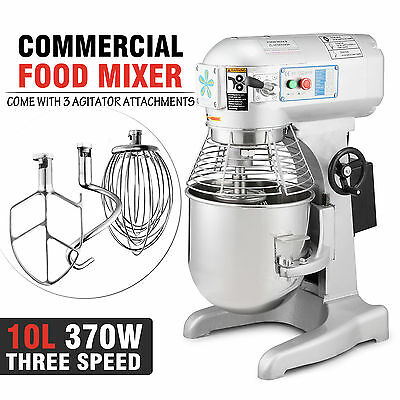 10 Litre Commercial Food Mixer Dough Food Mixer 3 Speed Stand Stainless Steel