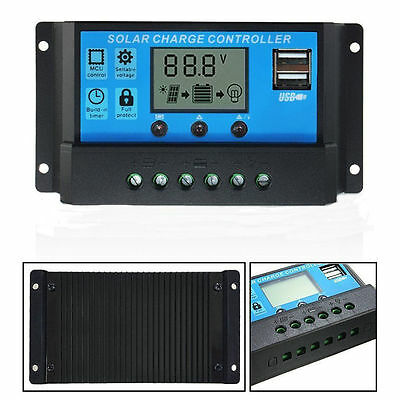 10A 12V/24V LCD Display PWM Solar Panel Regulator Charge Controller & Timer