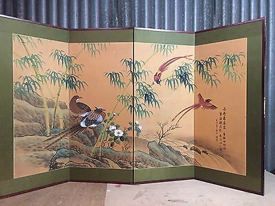 Vintage Japanese Chinese 4 Panel Folding Screen Byobu Painted 59x35 SILK!