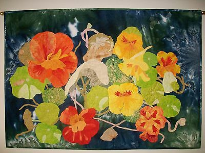 Art Quilt Entitled Nasturtiums By The River