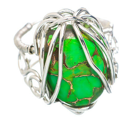 Green Copper Turquoise 925 Sterling Silver Ring Size 7.5 Ana Co Jewelry R791728