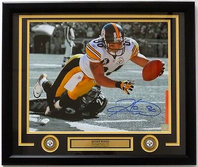 Hines Ward Pittsburgh Steelers Signed Framed 16x20 Spotlight Dive Photo JSA