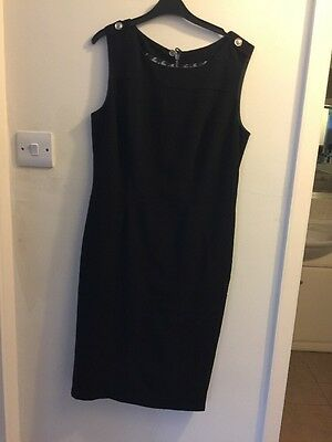 Ladies Marks And Spencer Dress Black Size 10 Exposed Back Zip