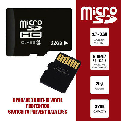 32Gb High Speed Micro Sd Memory Card With Adapter Case Mobile Phone Dash Cam Mp3