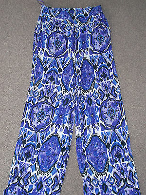 Ladies Long Summer Trousers From Tu Purple/white Size 8