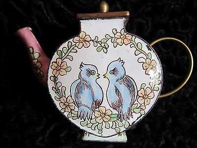 Antique Vintage Chinese Enamel Small Decorative Teapot Ornament Heart Birds