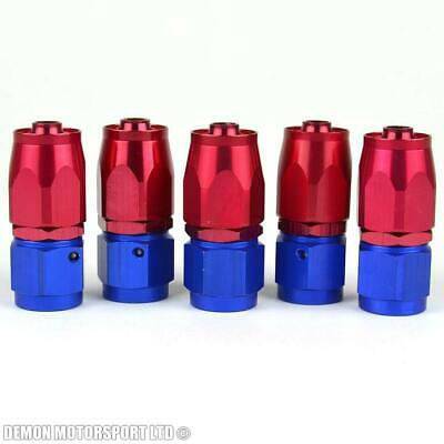 AN4 -4 4AN Straight Hose Fitting (5 Pack) JIC - Braided Fuel Oil Hose Red / Blue