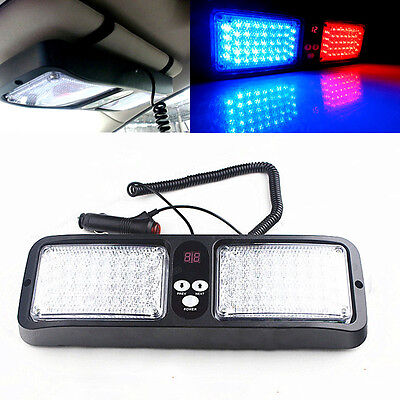 New CREE 86LED Warning Car Van Truck Emergency Strobe Light Lamp Blue+Red LED