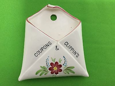 "Vintage Wall Pocket Open Envelope Style ""Coupons & Clippin's' Kitchenalia"