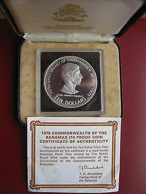 Commonwealth Of Bahamas 1978 Silver Proof $10 coin Prince Charles Cased COA #2
