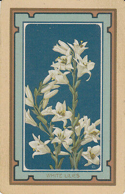 #Vintage Swap / Playing Card - 1 SINGLE   -  NAMED 'WHITE LILLIES'