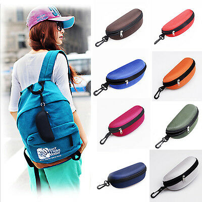 Portable Hook UP Zipper Eye Glasses Eyewear Sunglasses Case Hard Protector