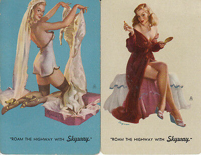 Vintage Swap/Playing Cards- 2 SINGLE - PINUP ADVERTS -  SKYWAY