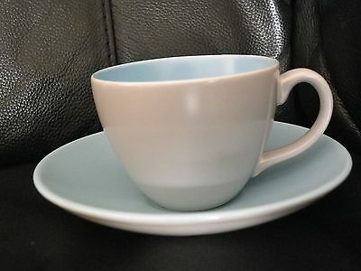 Poole Pottery Twintone Sky Blue Dove Grey Cup & Saucer