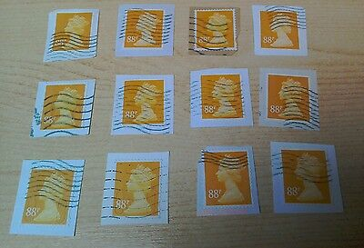 GB 88p orange-yellow security machins used on paper 12 stamps