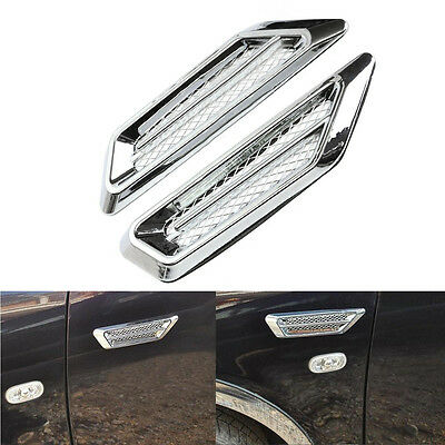 2Pcs Chrome Car SUV Air Flow Fender Side Vent Decoration Sticker New Useful Well