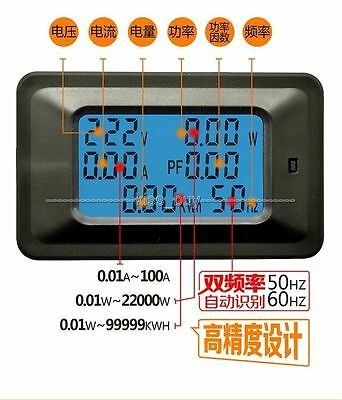 6in1 digital AC Meter Voltage 110V 220V Current 20A Power Factor KWH Frequency