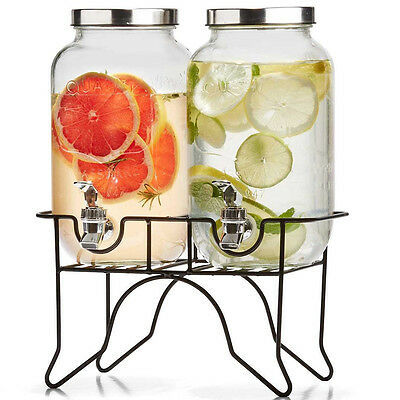 Dual Glass Drink Dispenser Stand Tap Juice Beverage Beer Water Cocktail Party