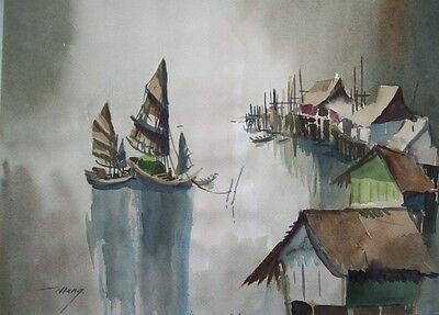 MENG? - SIGNED MID 20thC ORIGINAL S.E.ASIAN WATERCOLOUR - VILLAGE ON STILTS
