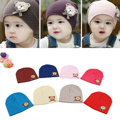 AU Infant Baby Boy Girl Children Soft Cotton Cap Toddler Dots Cute Solid Hats