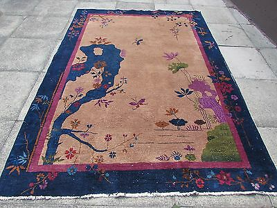 Antique Hand Made Art Deco Chinese Navy Blue Gold Wool Large Carpet 262x187cm