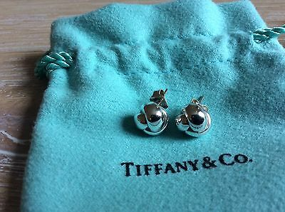 Tiffany Silver Weave Knot Stud Earrings Pair With Tiffany Pouch