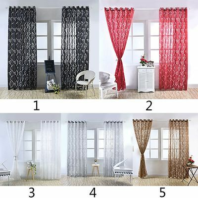 Window Door Voile Curtain Drape Panel Tulle Floral Divider Sheer Scarfs Curtain