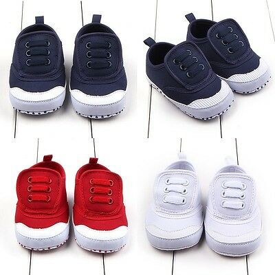 AU Toddler Baby Boy Girl Pre-walker Shoe Infant Canvas Soft Sole Sneaker 0-12 M