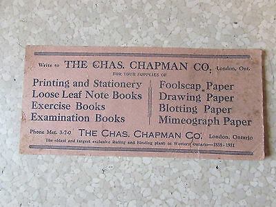Vintage Chas.Chapman London Ontario Ink Blotter Advertisement Stationary Items