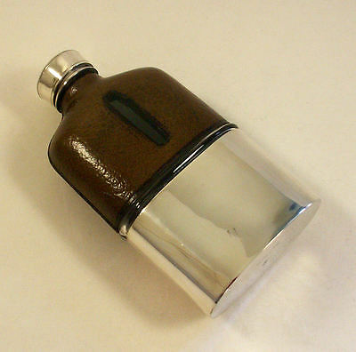 Vintage Hip Flask Silver Plate Leather And Glass