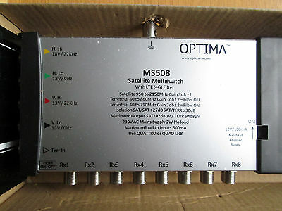 Optima MS508 5x8 Way IRS Satellite Multiswitch LTE (4G) Filter Built In. NEW.