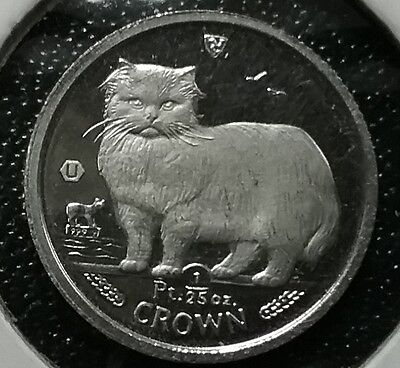 + + 1989 ISLE OF MAN 1/25 Oz Crown MANX CAT 999.9 PLATINUM Proof Coin SCARCE! ++