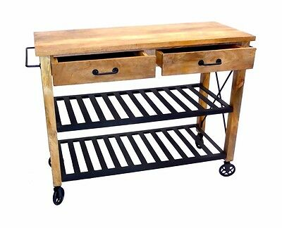 Industrial Kitchen Trolley - Mango wood 2 drawers 2 shelves island with wheels